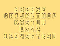 Pixel retro font video computer game design 8 bit letters numbers electronic futuristic style vector abc typeface. Pixel retro font video computer game design 8 Royalty Free Stock Image