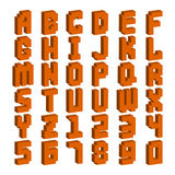 Pixel retro font video computer game design 8 bit letters numbers electronic futuristic style vector abc typeface. Pixel retro font video computer game design 8 Stock Image