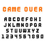 Pixel retro font video computer game design 8 bit letters numbers electronic futuristic style vector abc typeface. Pixel retro font video computer game design 8 stock illustration