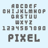 Pixel retro font video computer game design 8 bit letters numbers electronic futuristic style vector abc typeface. Pixel retro font video computer game design 8 Royalty Free Stock Photo