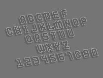 Pixel retro font video computer game design 8 bit letters numbers electronic futuristic style vector abc typeface. Pixel retro font video computer game design 8 royalty free illustration