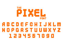 Pixel retro font video computer game design 8 bit letters numbers electronic futuristic style vector abc typeface. Pixel retro font video computer game design 8 Stock Photos
