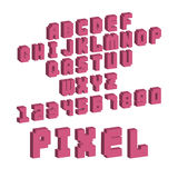 Pixel retro font video computer game design 8 bit letters numbers electronic futuristic style vector abc typeface. Pixel retro font video computer game design 8 Stock Photo