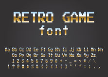 Pixel retro font Video computer game design 8 bit. Letters and numbers Electronic futuristic style. vector illustration Royalty Free Stock Images