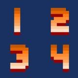 Pixel retro numbers computer game design vector illustration Stock Photos