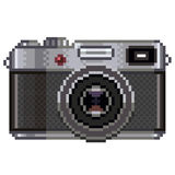Pixel retro photo camera  vector Stock Image