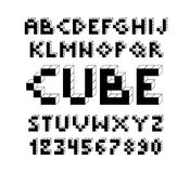 Pixel retro video game font. 80 s retro alphabet font. 8 bit letters and numbers typeface Royalty Free Illustration