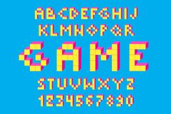 Pixel retro video game font. 80 s retro alphabet font. 8 bit letters and numbers typeface Stock Illustration