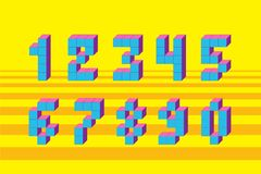Pixel retro video game numbers. 80 s retro alphabet font. 8 bit letters and numbers typeface Vector Illustration