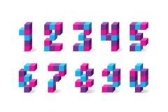 Pixel retro video game numbers. 80 s retro alphabet font. 8 bit letters and numbers typeface Royalty Free Illustration