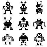 pixel robot icons Royalty Free Stock Photos