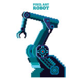 Pixel robot manipulator. Vector pixel art blue robot manipulator Royalty Free Stock Photos