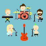 Pixel rock band. Set of icons on rock band theme in pixel art style, vector illustration Royalty Free Illustration