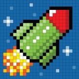 Pixel Rocket no espaço Fotos de Stock