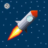 Pixel rocket in space. Vector illustration Royalty Free Stock Photos