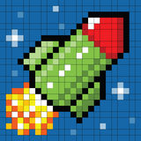 8-bit Pixel Rocket in Space. Cartoon rocket depicted in pixel-art form royalty free illustration