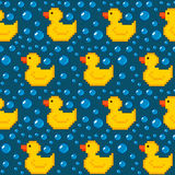 Pixel rubber duck seamless background Royalty Free Stock Images