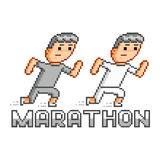Pixel runners and marathon. Logo for game and design Stock Image