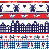 Pixel sans couture Holland Pattern de vecteur Photographie stock libre de droits