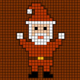 Pixel Santa Christmas Theme Stock Illustration