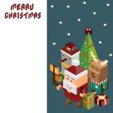 Pixel Santa Claus en Rendier en sneeuwman, Vrolijke Kerstmis en royalty-vrije illustratie