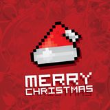 Pixel santa claus red hat Royalty Free Stock Photography