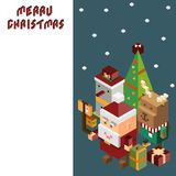 Pixel Santa Claus and Reindeer and snowman ,Merry Christmas and royalty free illustration