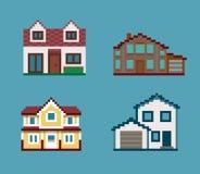 Pixel-Satz Häuser Lizenzfreie Stockfotos