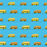 Pixel school bus background. Pixel school bus vector seamless pattern stock illustration