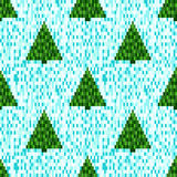 Pixel seamless pattern with Christmas trees. Seamless background. Pixel art. Winter background Stock Illustration