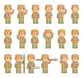 Pixel set of different emotions Stock Photo