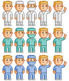 Pixel set of doctors, surgeons and physicians. Pixel set of doctors, surgeons and medical staff royalty free illustration