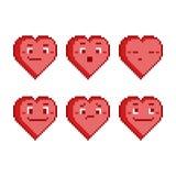 Pixel set funny hearts Royalty Free Stock Photo