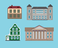 Pixel Set of Historical Houses Stock Image
