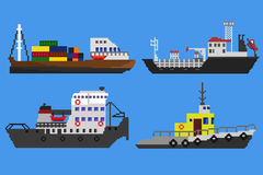 Pixel ships and boats. Set of industrial cargo ships and boats. Pixel art vector illustration Royalty Free Stock Photos