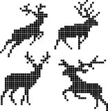Pixel silhouettes of deers Stock Images