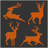 Pixel silhouettes of deers Royalty Free Stock Images