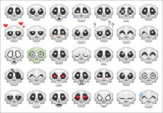 Pixel skull smiley icons set Royalty Free Stock Photo