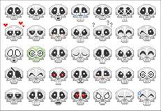 Pixel skull smiley icons set Royalty Free Stock Photo