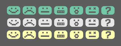 Pixel smiles set Royalty Free Stock Images