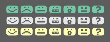 Pixel smiles set. Green, gray and yellow pixel style smiles set Royalty Free Stock Images