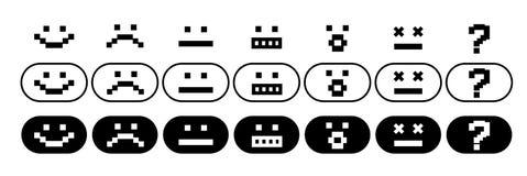 Pixel smiles set. Simple black and white pixel smiles set Royalty Free Stock Photo