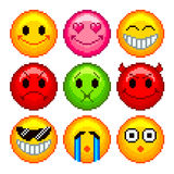 Pixel smileys for games icons vector set Royalty Free Stock Images