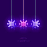 Pixel snowflake simple christmas greeting card. Can be used as invitation, envelope, brochure, flyer Royalty Free Stock Photo