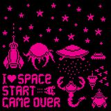 Pixel space. Set of pixel art icons for space and aliens theme, illustration Stock Illustration