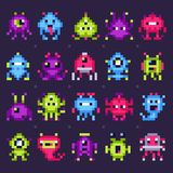Pixel space monsters. Arcade video games robots, retro game invaders pixel art isolated vector set stock illustration