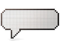 Pixel speech bubble made of glossy cubes. 3D render Stock Photography