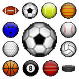 Pixel sports balls. Vector set of pixel sport balls for different games Royalty Free Stock Photos