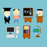 Pixel study. Set of icons on study theme Stock Illustration