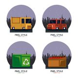 Pixel style elements. Vector illustration graphic design Stock Illustration